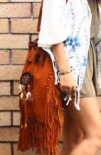 Large Suede Bucket Fringe Bag