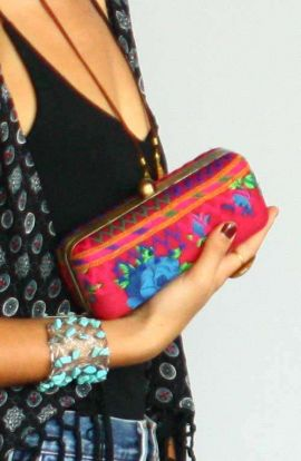 Large Hand Embroidered Pink Clutch