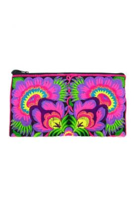 Women's Wristlet Purse - Magenta Flower