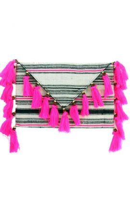 Offbeat Clutch - Pink Tassels