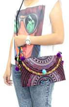 Hmong Cross Body Pom Pom Bag