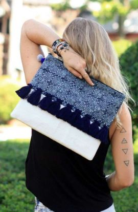 Sharai Oversized Clutch - Batik Tassel