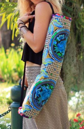Yoga Mat Carrier - Blue Rose
