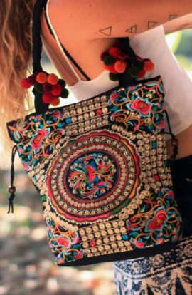 Shoulder Tote Bag - Hmong Silver