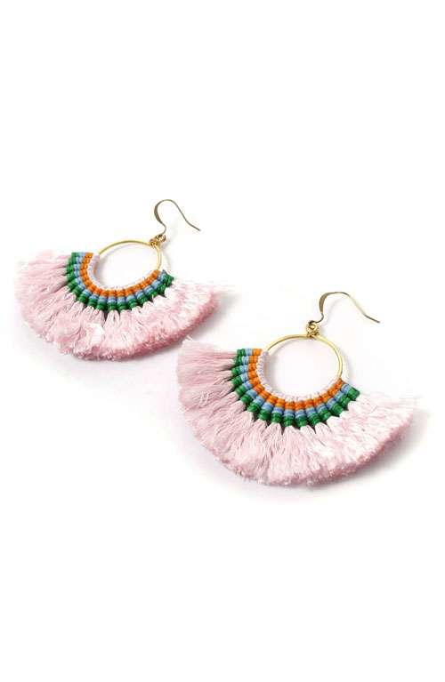 Hoop Tassel Earrings - Baby Pink