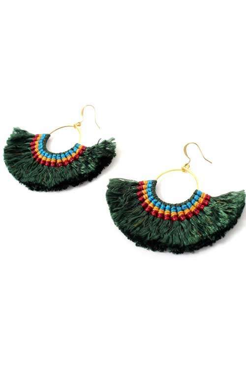 Hoop Tassel Earrings - Forrest Green