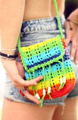 Festival Rainbow Crochet Bag
