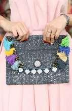 Kimmi Clutch - Batik L with Colourful PomPoms