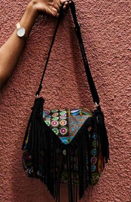 Patchwork Shoulder Fringe Bag