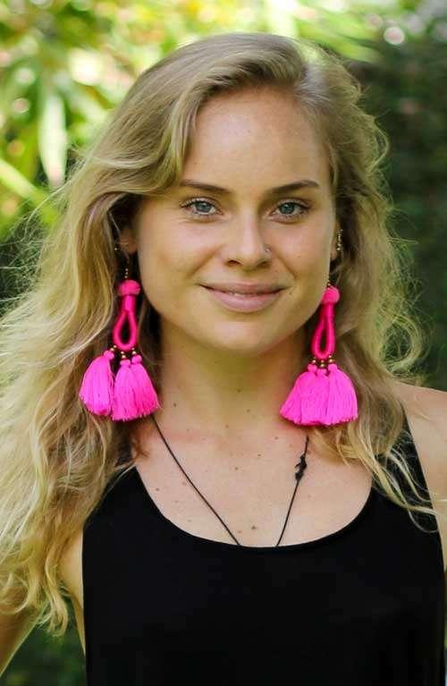 Hoop Tassel Earrings - Pink