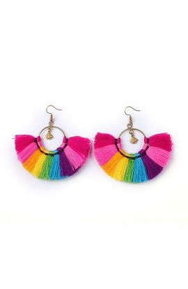 Hoop Tassel Earrings - Colourul