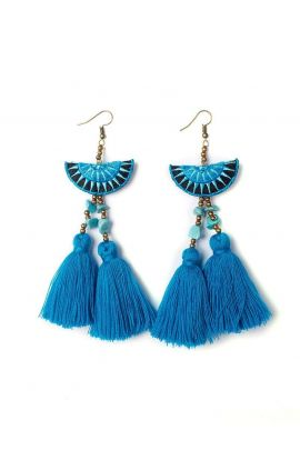 Mia Double Tassel Earrings - Blue