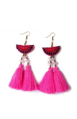 Mia Double Tassel Earrings - Pink