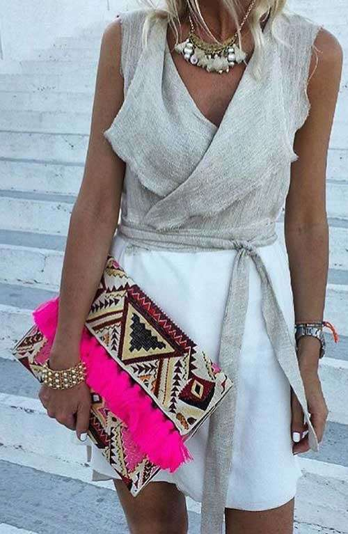 Oversized Clutch - Arvoriot Hot Pink Tassel
