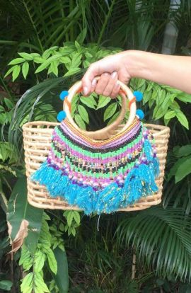Small Straw Bag with Vintage Tassels