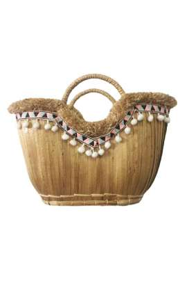 Straw Tote Bag - Pom Pom Trim