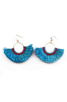Hoop Tassel Earrings - Sky Blue