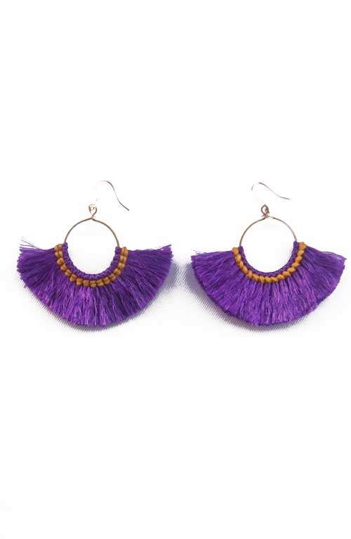 Hoop Tassel Earrings - Deep Purple