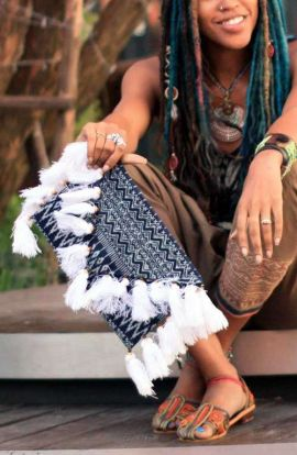 Blue Batik Large Clutch