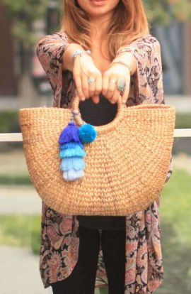 Large Top Handle Wicker Bag