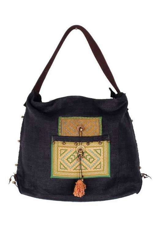 Shoulder Hemp Bag - Black