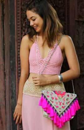 Cross Body Bag - Hot Pink Tassel
