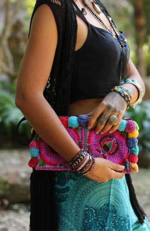Colorful Clutch with Colorful Pom Pom's