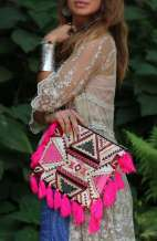 Jayla Bohemian Clutch - Hot Pink