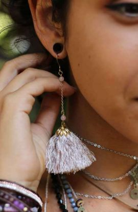 Drop Tassel Earrings - Beige
