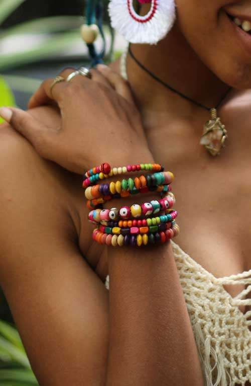 Multi Colored Beaded Wrap Bracelet