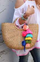 Large Top Handle Straw Bag