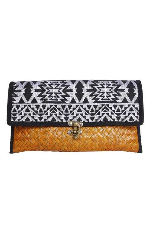 Straw Clutch - Aztec Black