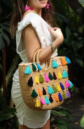 Tasseled Straw Bag