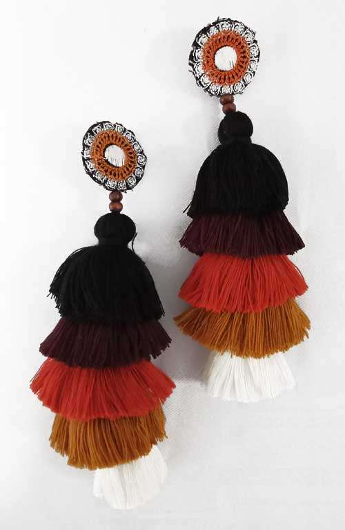 Long Tassel Earrings - Earth Tone