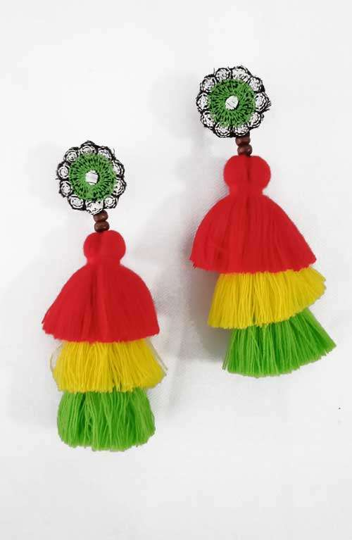 Rainbow Tassel Earrings - Small