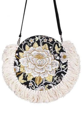 Round Cross Body Bag - Cream Tassels