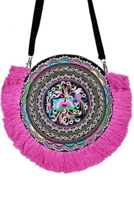 Cross Body Bag - Pink Tassels
