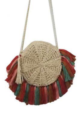 Soft Straw Cross Body Bag - Fanned Tassel