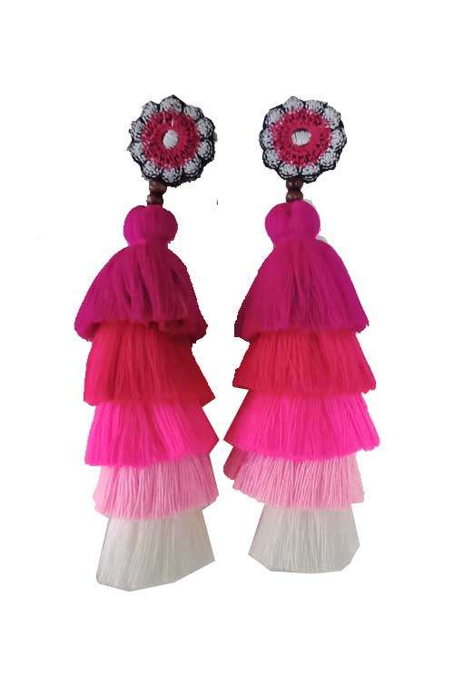 05908993693 Long Tassel Earrings - Pink Tones