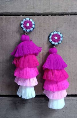 Long Tassel Earrings - Pink Tones