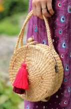 Round Straw Bag - Top Handle