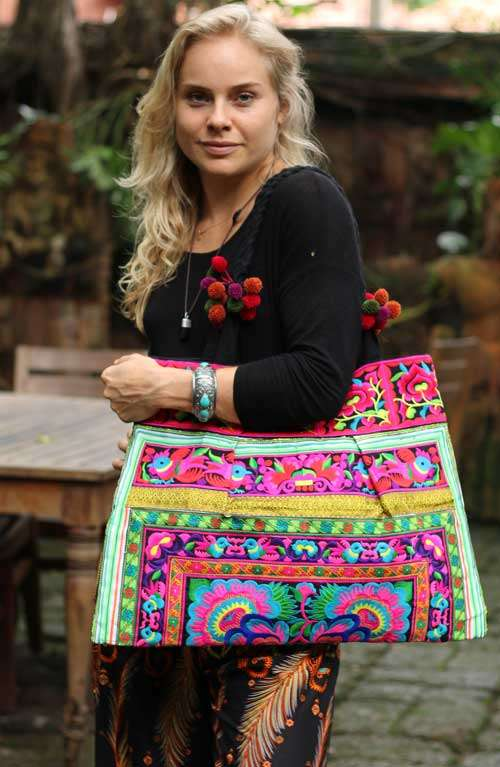Sandy Beach Boho Bag - Thai Flower (D)