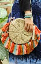Soft Straw Cross Body Bag - Fanned Tassel