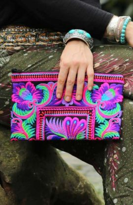 Women's Small Boho Purse - Hmong Floral