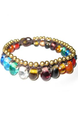 Multi Coloured Glass Beads Bracelet