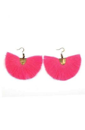 Pom Pom Earrings - Fuchsia