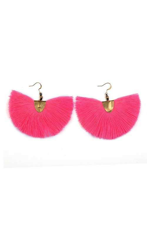 Pink Tassel Earrings - Fanned