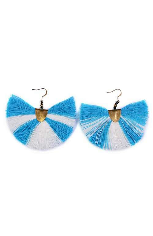 Blue Tassel Earrings - Fanned
