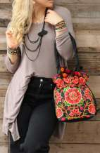 Bohemian Shoulder Bag - Flower Vine
