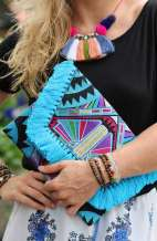 Kimmi Clutch - Tribal Blue Tassels